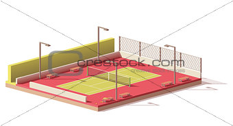 Vector low poly tennis court