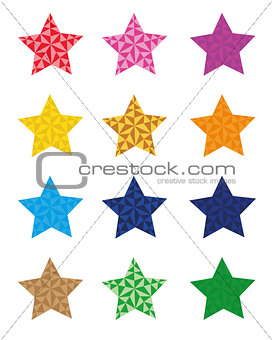 12 colorful star icons, star isolated on white background. vector format available