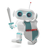3D Illustration Security Robot