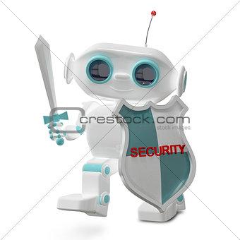 3D Illustration Security Robot