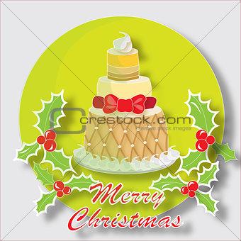 Christmas cake with butcher's broom