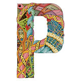 Letter P zentangle. Vector decorative object