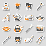 Dental Services sticker two color Icons Set