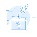 Launch of new business - sturtup beginning as rocket takeoff