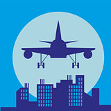 plane in front of big city silhouette, flat style illustration