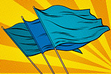 blue flag pop art background