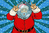 Funny Santa Claus astronaut makes faces