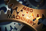 MRO Machinery Concept. Golden Cogwheels. 3D Illustration.