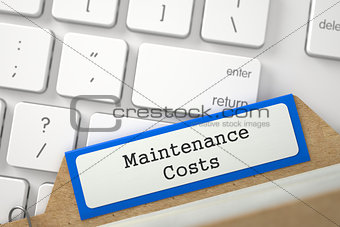 Card File with Inscription Maintenance Costs. 3D.