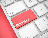 Bonuses - Message on Red Keyboard Button. 3D.