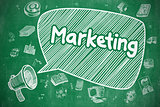Marketing - Cartoon Illustration. Green Chalkboard.