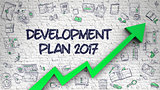 Development Plan 2017 Drawn on White Brick Wall.