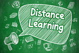 Distance Learning - Doodle Illustration. Green Chalkboard.