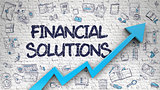 Financial Solutions Drawn on White Wall.