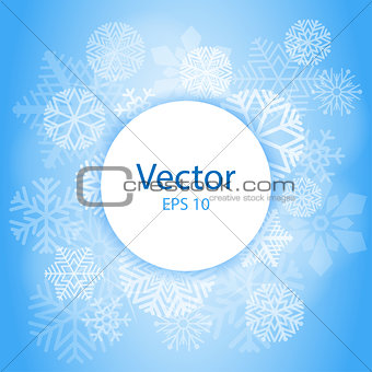 Blue Light Abstract Circle Frame with Snowflakes. Christmas frame on snow background with space for text. vector illustration