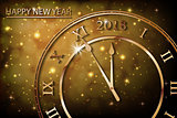 Happy New 2018 Year with bokeh and lens flare pattern in vintage color style background. New Year banner with gold clock. Vector illustration