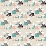 Mountain seamless pattern. Flat style cartoon Mountain.