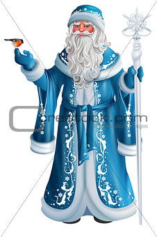 Blue Russian grandfather frost. Russian Santa Claus Saint Nicholas