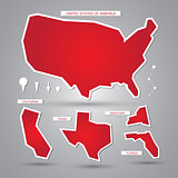 Vector USA maps and elements