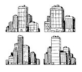 Hand drawn urban vector buildings skyscrapers