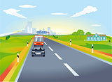 Highway with car traffic, illustration
