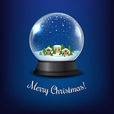 Winter Snow Globe With Blue Background