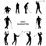 Golf different silhouettes on white background