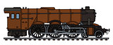 Classic brown steam locomotive