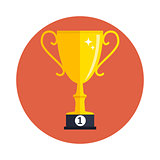 Concept on Success. Gold Trophy Cup Award Icon. Vector Illustration