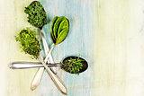 Vitamins - various herbs on spoons