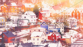 Beautiful town in winter