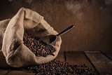 Coffee beans on grunge background