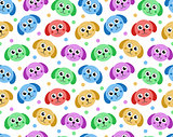 Cute puppy seamless pattern. Dog repetitive texture. Children endless background. Vector illustration.