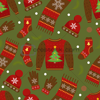 Winter apparel seamless pattern. Christmas clothes repeating texture. Warm clothing Infinite background. Sweater, gloves, hat, socks. Vector illustration.