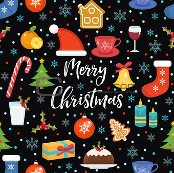 Merry Christmas seamless pattern, flat style. Holiday infinite background. New Year repeating texture. Vector illustration.