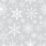 Snowflakes seamless pattern. Frosty repeating texture. Christmas and New Year infinite background. Vector illustration.
