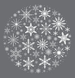 Merry christmas card with snowflakes in round shape. Snow globe for your design. Vector illustration.