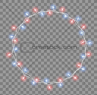 Glowing garland with small lamps. Garlands Christmas decorations lights effects. Glowing lights Garlands Xmas Holiday greeting card design. Vector illustration, clipart.