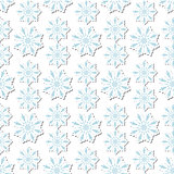 Volumetric snowflakes seamless pattern. New Year s snow endless background, winter repeating texture. Christmas backdrop. Vector illustration.