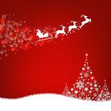 Xmas Postcard Fir Tree Border And Santa Claus
