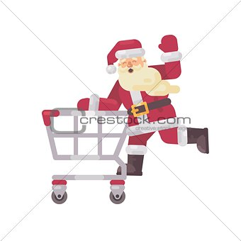 Santa Claus riding a shopping cart. Happy Christmas character fl