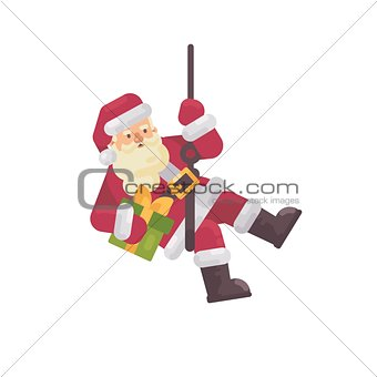 Santa Claus rappelling with a present in hand. Santa climbing do