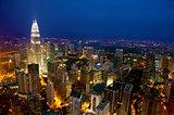 Top View Kuala Lumpur city skyline night