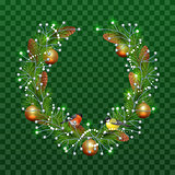 Christmas wreath of fir branches on transparent green background. Holiday decoration christmas balls, pine cones, bullfinch and titmouse