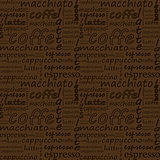 inscriptions of coffee on a brown background. hand drawn vector