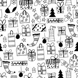 Vector Seamless Pattern with Hand Drawn Christmas Gifts