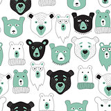 Vector Seamless Pattern with  Bears