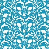 Vector Otomi Style Marine Seamless Pattern