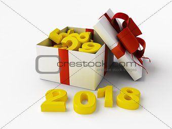 2018 New Year background with gift