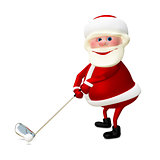 3D Illustration of Santa Claus Golfer